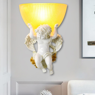 Angel Boy Corridor Wall Lamp Rural Resin 1 Bulb Silver/White/Beige Wall Lighting Ideas with Bowl Amber Ribbed Glass Shade