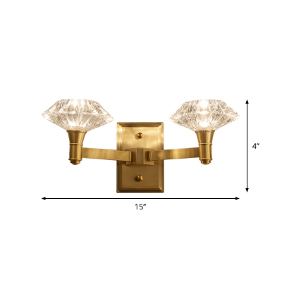 Clear Crystal Diamond Wall Sconce Modern Style 1/2 Lights Brass Wall Mounted Lamp for Living Room