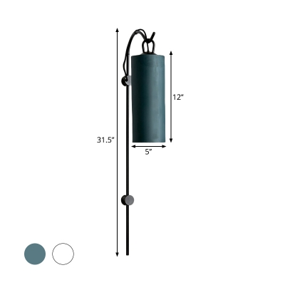 Fabric Cylinder Wall Mount Lamp Minimalism 1 Bulb White/Green Wall Lighting Ideas in Yellow/White Light