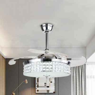 Faceted Crystal Drum Fan Light Fixture Modernism LED Chrome Semi Flush Mount Lighting with 3 Blades, 19