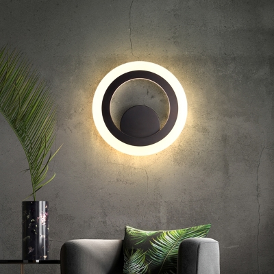 Led Great Room Wall Lighting Ideas Modern Black Wall Sconce With Circular Metal Shade In Warm White Light Beautifulhalo Com