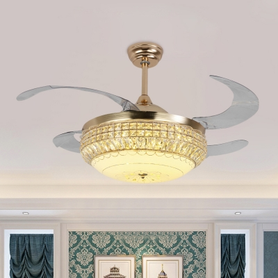 Minimalist Bowl Shaped Fan Lamp Crystal Dining Room LED Semi Mount Lighting in Gold with 4 Blades, 19