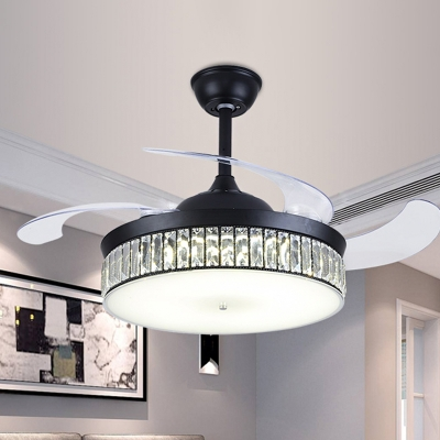 Round Shade Flush Ceiling Fan Simple Faceted Crystal 19
