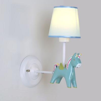 Simple 1 Head Wall Sconce Lighting Pink/Blue Finish Conical Unicorn Wall Light Fixture with Fabric Shade