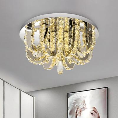 U-Shaped Ceiling Flush Mount Modernist Faceted Crystal Stainless-Steel LED Flushmount Light for Bedroom