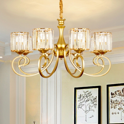 Crystal Block Cylinder Chandelier Postmodern 8 Heads Suspension Light with Scroll Arm in Gold