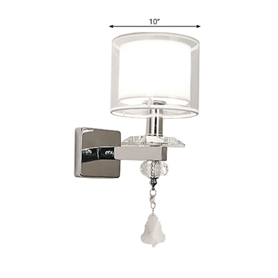 Dual Cylinder Wall Mounted Light Simple Clear and Opal Glass Single Head Chrome Wall Lighting with Crystal Droplet