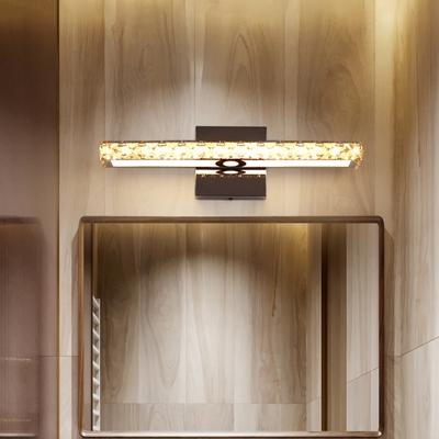 Linear Vanity Lighting Fixture Simplicity Faceted Crystal LED Chrome Wall Sconce Light for Bathroom
