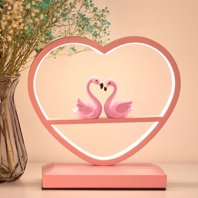 Loving Heart Aluminum Table Lamp Macaron LED Pink Nightstand Lighting with Double Flamingo Deco