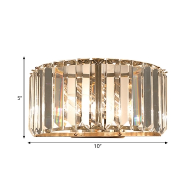Minimalism Half-Drum Wall Lighting Crystal Rectangle 1 Bulb Bedside Surface Wall Sconce in Gold