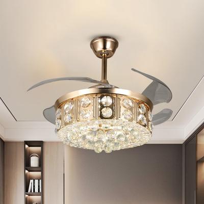 Modern Drum Fan Light Kit Faceted Crystal 4-Blade LED Bedroom Semi Flush Mount Ceiling Fixture in Gold, 19