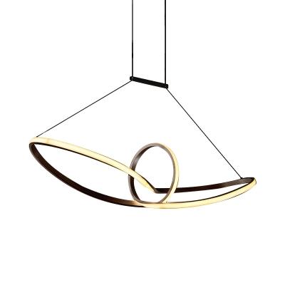 Black/White Swirl Wave Island Lighting Minimalist LED Acrylic Pendant Lamp in Warm/White Light for Dining Room