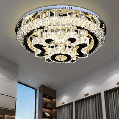 Blossom Clear Cut Crystal Semi Flush Minimalist LED Black Ceiling Mounted Fixture