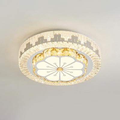 Chrome Drum Flush Mount Light Fixture Minimalist Beveled Crystal LED Ceiling Mounted Lamp for Bedroom