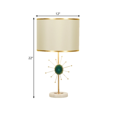 Minimalist Cylinder Night Lamp Fabric 1 Head Living Room Table Light in Red/Green with Sputnik Design