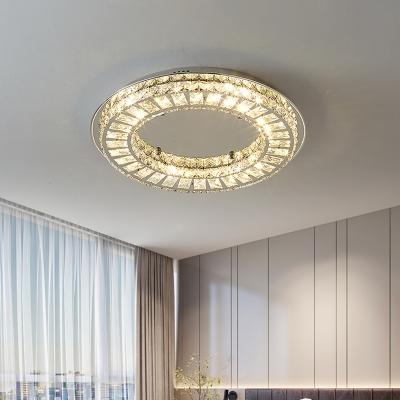 Modern LED Flush Ceiling Light Chrome Flush Mount Fixture with Clear Crystal Block Shade