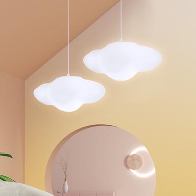 Nordic Cloud Pendulum Light Plastic 1 Light Baby Bedroom Suspension Lamp in White