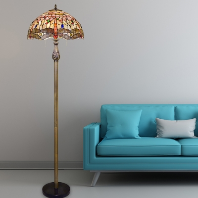 2-Bulb Living Room Reading Floor Lamp Baroque White Dragonfly Patterned Standing Lighting with Dome Shell Shade