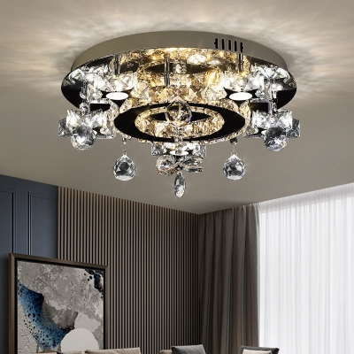 Circle Semi Flush Light Minimalist Clear Crystal LED Chrome Ceiling Fixture in Warm and White Light with Droplet