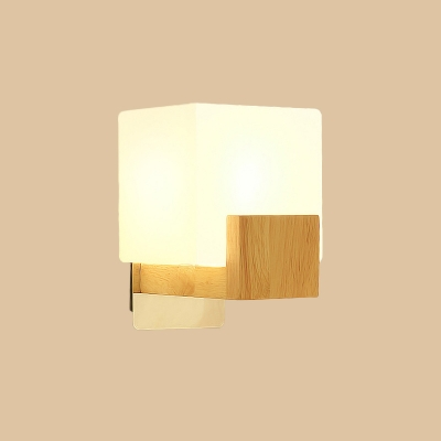 Cube/Cuboid/Brick Wall Sconce Nordic Acrylic 1 Bulb Beige Wall Mount Light with Wood Accent for Bedroom