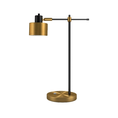 Cylinder Living Room Desk Light Metallic 1-Bulb Modern Night Table Lamp with Adjustable Arm in Brass