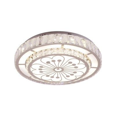 Dual Ring Crystal Flush Ceiling Light Fixture Contemporary LED Chrome Flush Mount Lighting with Flower Pattern