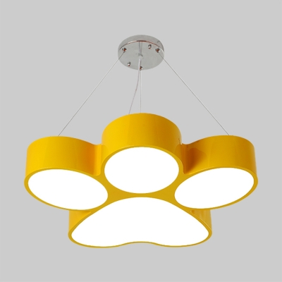 LED Parlor Pendant Chandelier Minimalism Red/Blue/Yellow Hanging Light Kit with Dog Claw Acrylic Shade