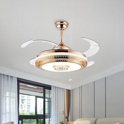 Round Crystal Fan Light Ceiling Fixture Modern 19