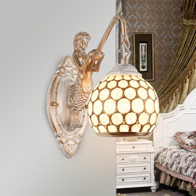 Traditional Sphere Wall Light Fixture 1-Light White Glass Wall Lighting Ideas with Resin Mermaid Arm