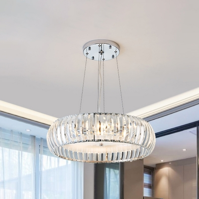 Chrome Round Pendant Chandelier Minimalistic 4-Bulb Clear Crystal Hanging Light Kit