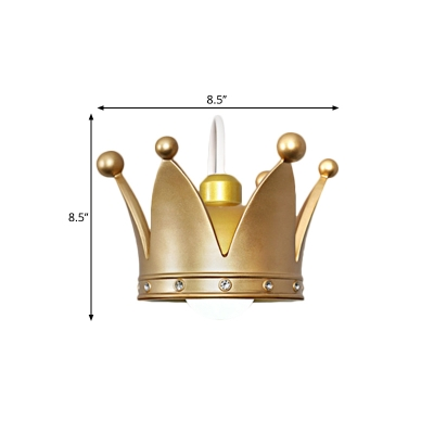 Crown Flush Mount Wall Sconce Kids Metallic 1 Light Pink/Gold Wall Mounted Lamp for Bedroom