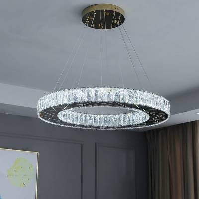 Crystal Block Round Down Lighting Contemporary LED Chandelier Light Fixture in Chrome