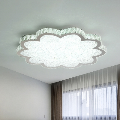 Floral Clear Crystal Flush Light Fixture Modernist LED Stainless-Steel Close to Ceiling Lamp for Bedroom