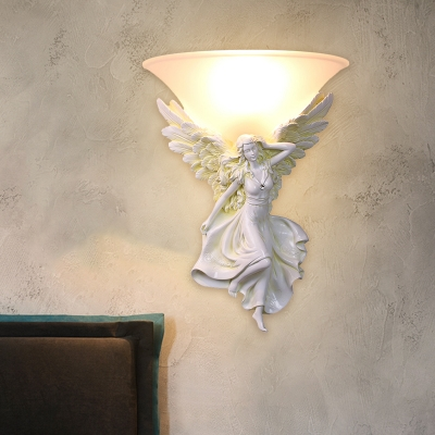 Frosted Glass Bell Wall Mount Light Country 1 Light Corridor Sconce with White/Gold Resin Angel Deco, Right/Left