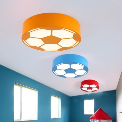 Led Playroom Close To Ceiling Lamp Modernism Black Red Yellow Flush Mount Light With Football Acrylic Shade Beautifulhalo Com