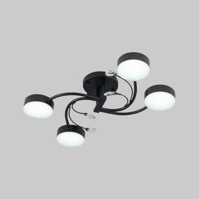 Nordic Swirling Semi Flush Mount Metal 4/6/8-Head Living Room LED Ceiling Mount Chandelier in Black