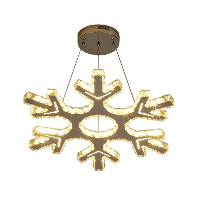 Snowflake Pendant Lighting Contemporary Faceted Crystal LED Restaurant Chandelier Light in Nickel