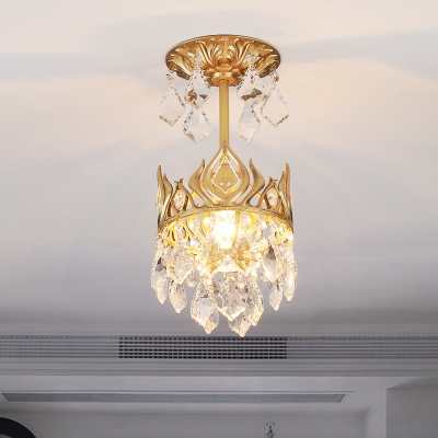 Teardrop Suspension Pendant Modern Clear Crystal 1 Light Dining Room Hanging Ceiling Light in Gold with Metal Crown