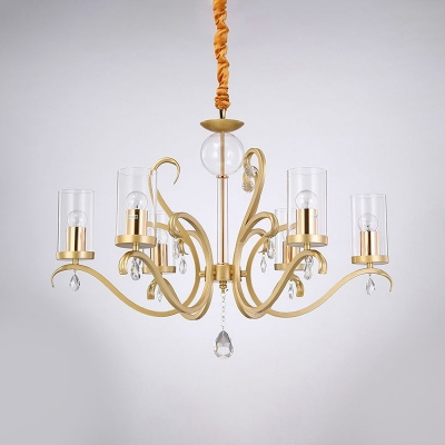 Clear Glass Cylinder Chandelier Light Modern Style 6 Lights Gold Pendant Lighting with Crystal Accent