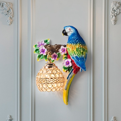 Resin Red/Blue Wall Lamp Parrot 1 Bulb Country Style Wall Light Fixture with Sphere Crystal Shade