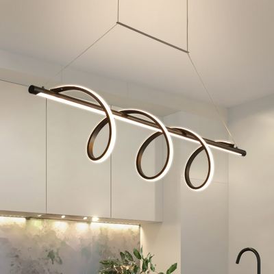 Simple LED Hanging Chandelier Black Swirl Ceiling Suspension Lamp with Acrylic Shade