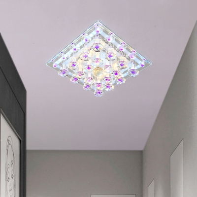 Square Parlor Ceiling Lamp Fixture Clear and Purple Crystal 7