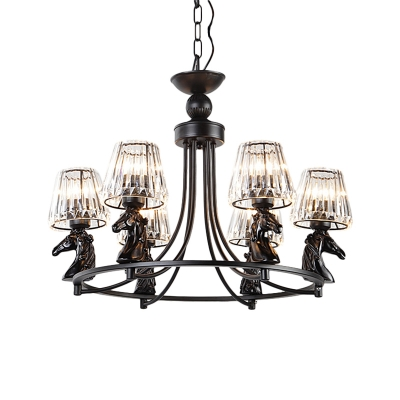 6-Light Dining Room Pendant Chandelier Simple Black Hanging Ceiling Light with Conic Crystal Shade