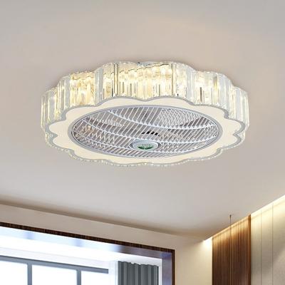 Crystal Block Flower Fan Light Kit Contemporary 3-Blade LED White Semi Mount Lighting for Bedroom, 23