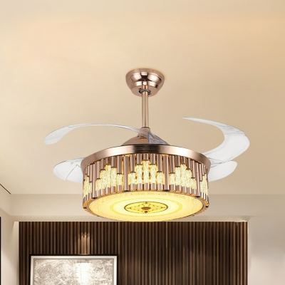 Crystal Round Semi Flush Light Contemporary LED Gold Flush Ceiling Fan with 4 Blades, 19