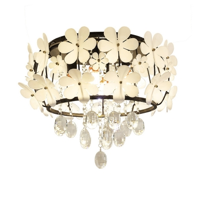 Drum Cage Flushmount Modernity Metal 4/6 Heads Black Ceiling Flush Mount with Crystal Droplets