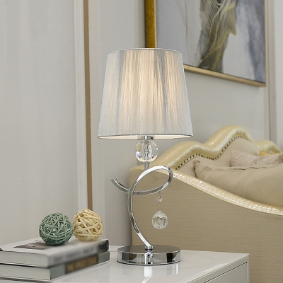 Fabric Conic Table Lighting Simplicity 1 Bulb Chrome Crystal Night Lamp with Twisted Arm