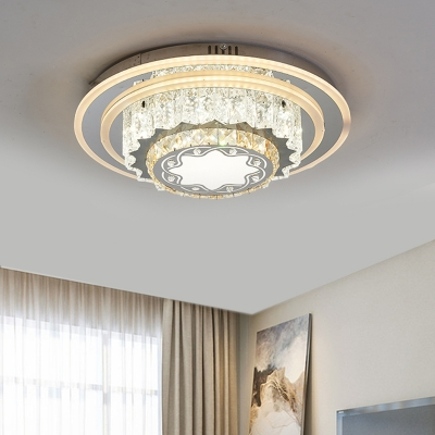 Floral/Star Crystal Ceiling Lamp Contemporary Chrome Finish LED Flushmount Lighting for Bedroom