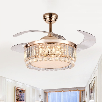 Gold Finish Drum LED Ceiling Fan Light Contemporary Crystal Block Semi Flush Mount Lighting with 3 Blades, 19