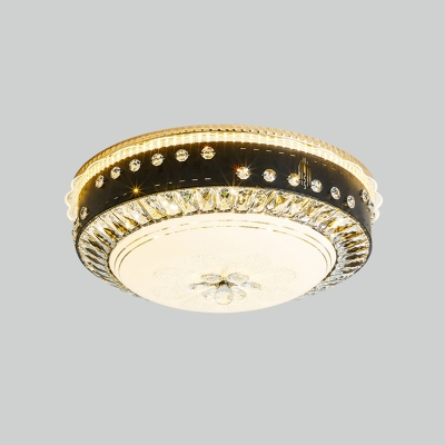 Round/Bowl Flushmount Light Modern Beveled Crystal LED Bedroom Close to Ceiling Lamp in Black